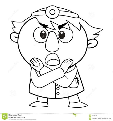 cute doctor coloring page outlined cute doctor royalty free stock images image