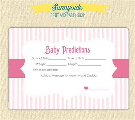 baby shower prediction cards template 7 best images of free printable baby prediction cards
