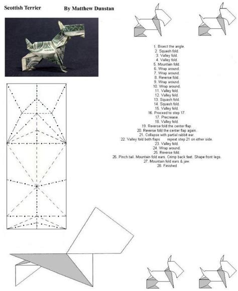 dogs in origami 30 breeds from terriers to hounds books folding diagram 1 of 3 scottish terrier money origami