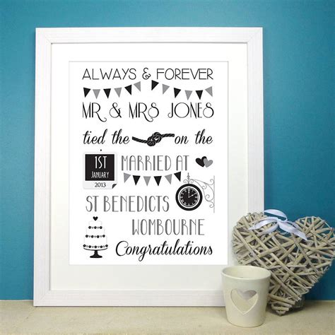 Wedding Prints by Personalised Wedding Print By The Paper Company