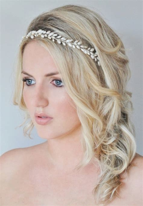 hairstyles with pearl headband pearl bridal hair vine pearl bridal headband grecian bridal