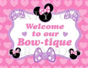 Wedding Chair Bows Items Similar To Diy Minnie Mouse Bow Tique Party Sign Printable Minnie S Bow Tique Birthday