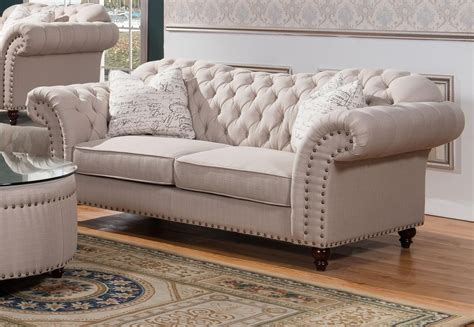 Loveseat Ottoman Phelps Tufted Fabric Sofa Mcferran Sf1709 Usa Furniture
