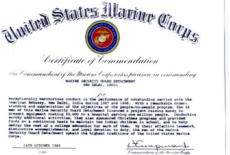 1968 cmc certificate of commendation to the msg detachment