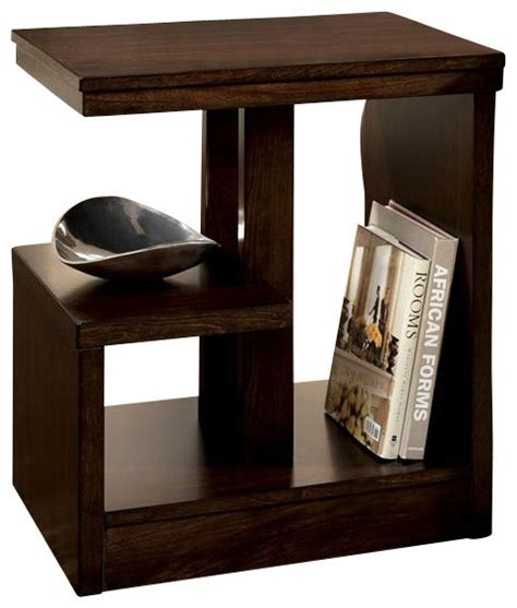 contemporary brown chairside end table w