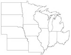 Midwest States And Capitals Blank Map by Gallery For Gt Blank Midwest Region Map
