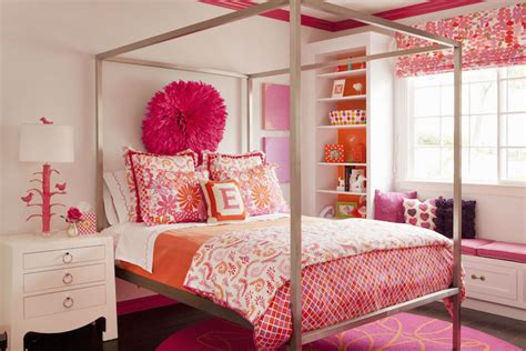 pink and orange bedroom bench bookcase contemporary girl s room land of nod