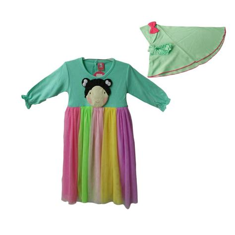 Baju Gamis Brokat Anak Perempuan jual baju gamis rainbow anak perempuan tosca harga kualitas terjamin
