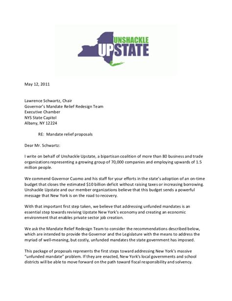 mandate appointment letter template letter to nys mandate relief redesign team