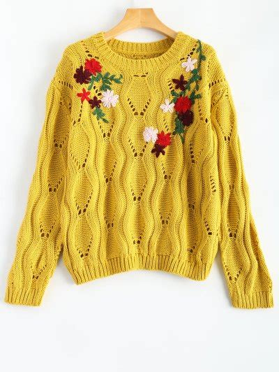 Sweater Cutout Knit Yellow floral embroidered cut out pullover sweater yellow sweaters one size zaful