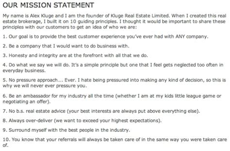 What Are Your Business Principles In Real Estate Real Estate Mission Statement Template