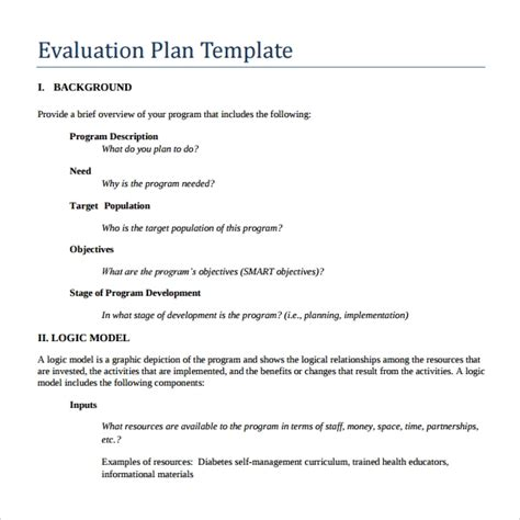 what is an plan template 9 evaluation plan templates sle templates