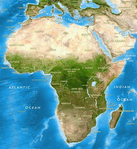 world map with country name satellite africa satellite image giclee print enhanced physical