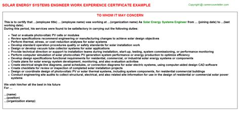 Cover Letter For Internship In Renewable Energy Experience Letter Sle For Solar Energy Systems Engineer