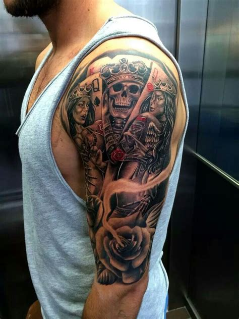 skull cards tattoo designs king cards half sleeve ideas