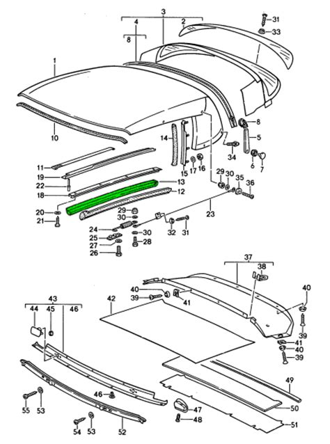 Porsche 911 Cabriolet Hood Roof Seal Lateral 91156118700