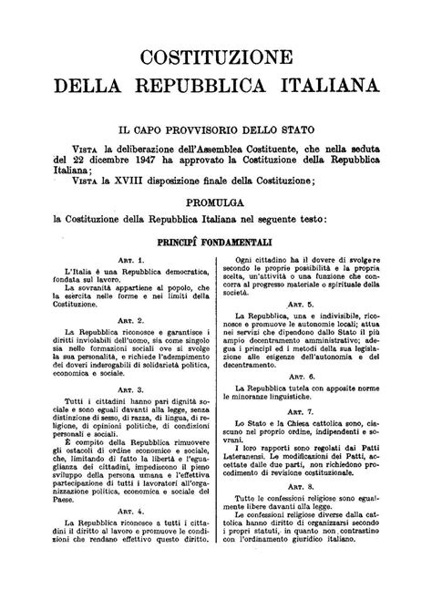 testo della costituzione italiana pagina italia repubblica costituzione testo originale