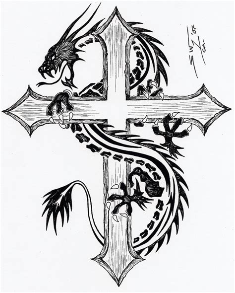 cross with dragon tattoo cross tribal by godonesw on deviantart