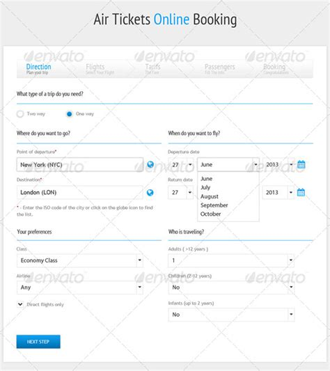 air tickets online booking form graphicriver