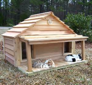 Cedar duplex cat house with porch deck this house is a dream come true
