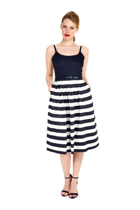 Dress Navy Stripe priscilla navy contrast stripe midi dress