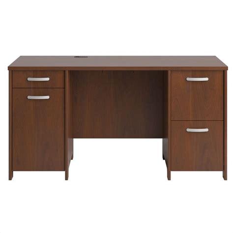 Cherry Finish Desk by Bush Envoy Pedestal Desk In Hansen Cherry Finish