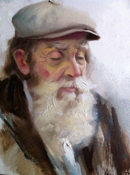 paint man old man sleeping portrait painting
