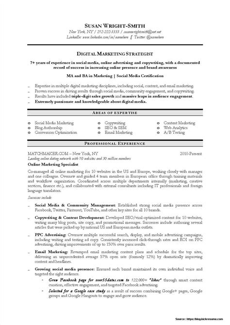 best resume format for experienced marketing professionals digital marketing resume sle resume resume exles