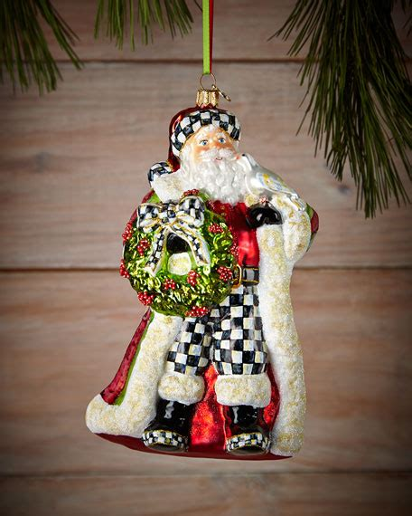 mackenzie childs deck the halls santa christmas ornament