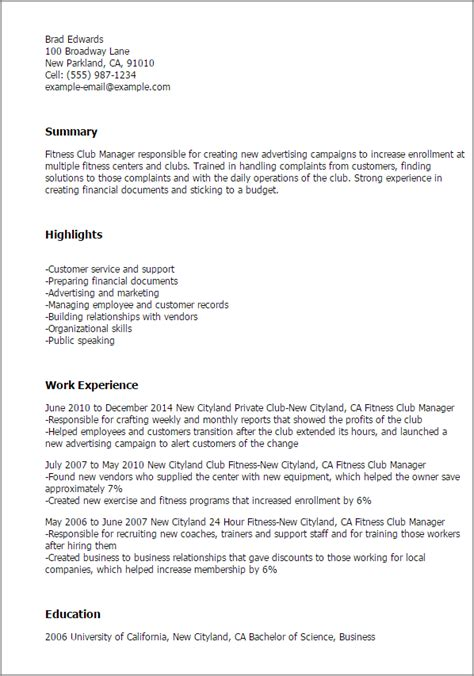 Fitness Center Manager Sle Resume by Professional Fitness Club Manager Templates To Showcase Your Talent Myperfectresume