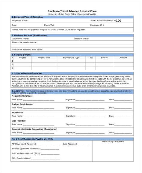 advance form template travel advance request form sle sportstle