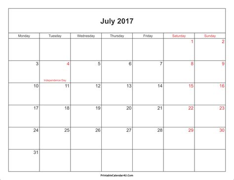 2017 Calendar With Holidays Printable July 2017 Calendar Printable With Holidays Pdf And Jpg