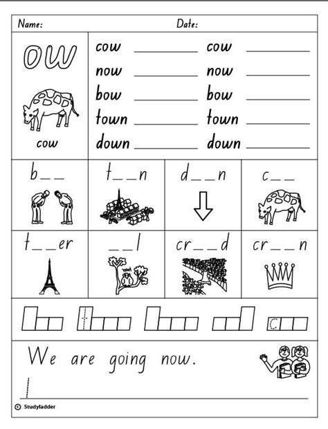 Ow Worksheets by Vowel Digraph Quot Ow Quot Skills Interactive
