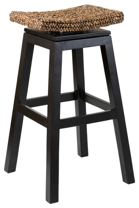 quinn wood and water hyacinth bar stool brown