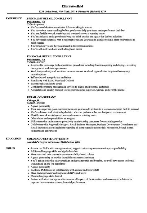 retail consultant resume sles velvet