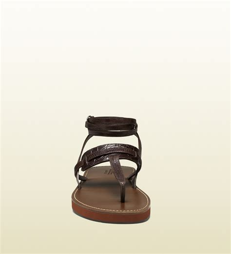 Gucci Color Center Leather Brown lyst gucci leather ankle sandal in brown for