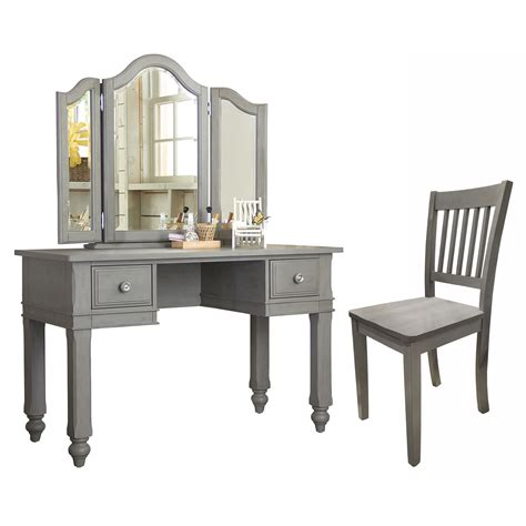 lake house writing desk with vanity mirror and chair