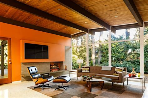 mid century modern fireplace dining room midcentury with