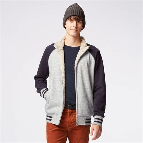 Uniqlo Mens Sweatpants Grey Original uniqlo faux shearling sweat sleeve zip jacket in gray for lyst