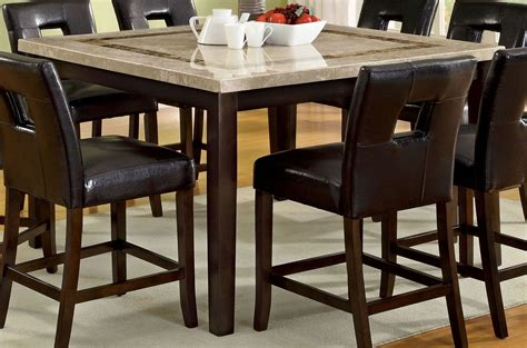 marble top bar height table lisbon ii marble top square counter height leg table from furniture of america