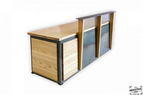Industrial Style Reception Desk Ash Steel Reception Desk Real Industrial Edge Furniture Custom Industrial Vintage Handmade