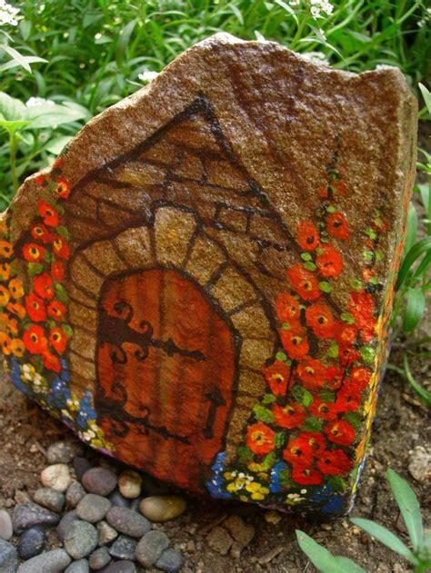 painted rock houses fairy house painted on a rock fairy garden ideas pinterest