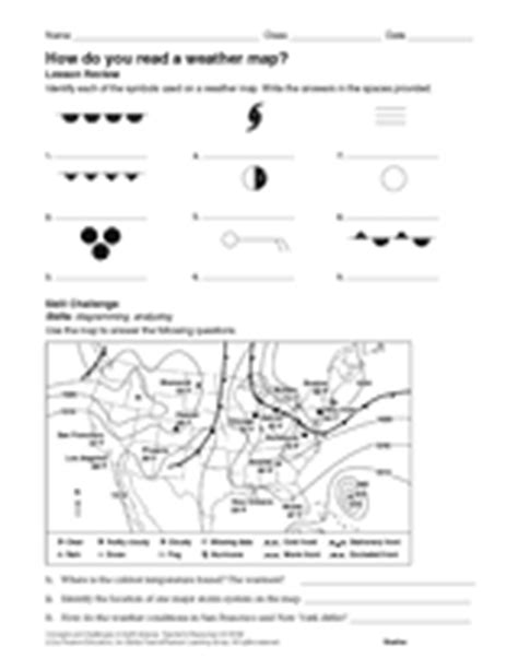 Interpreting A Weather Map Worksheets by How Do You Read A Weather Map Weather Science Printable 6th 12th Grade Teachervision