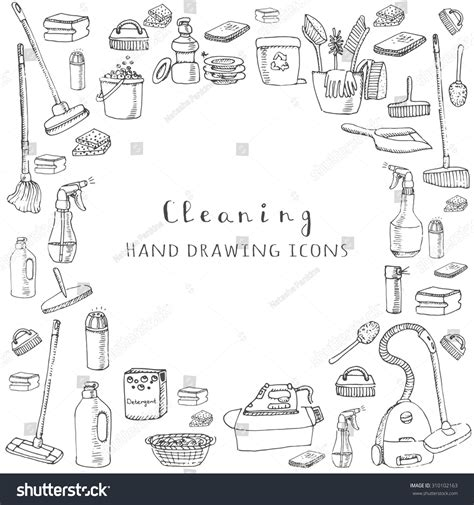 doodle service vector cleaning service icons stock vector