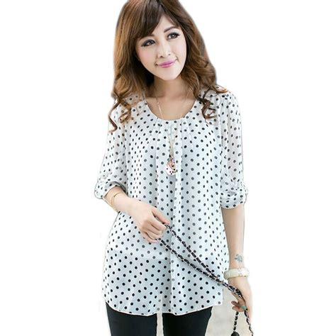 Pb8 Polkadot Blouse chiffon blouse shirts polka dot blouse 3xl 5xl 4xl blusas big size blusas plus size