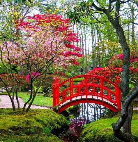japanese garden bridge japanese garden with a lovely red bridge over a small stream