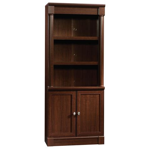 Bookcase With Doors Sauder Palladia Collection 5 Shelf Bookcase With Doors In Select Cherry 412019 The Home Depot