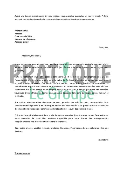 Lettre De Motivation Candidature Spontanée Secrétaire Administrative Lettre De Motivation Secr 233 Taire Employment Application
