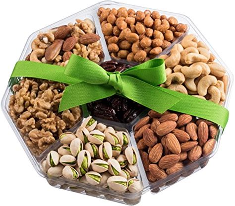 christmas holiday gourmet food baskets nuts gift basket mixed nuts 7 different nuts five star gift baskets nut cravings large gourmet food nuts gift basket 7 section or