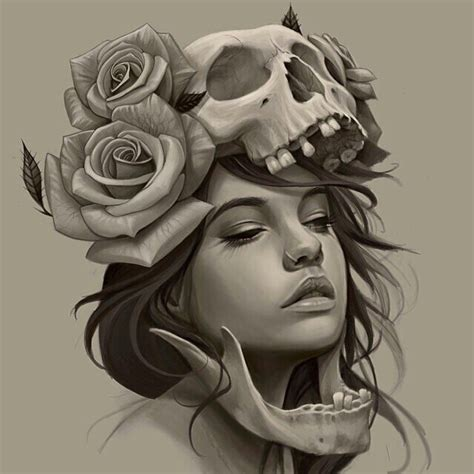 tattoo girl sketch girl skull roses tattoo sketch skull art pinterest